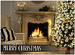 Christmas Fireplace Holiday Card H7154U-AA