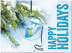 Toothbrush Ornament Holiday Card D7181U-A