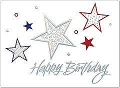 Star Pattern Birthday Card A7009S-W