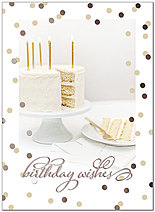 Elegant Cake Birthday Card A8004G-W