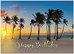 Palm Tree Paradise Birthday Card A8010U-X