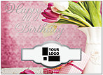 Floral Die Cut Birthday Card A8028U-W