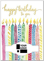 Decorative Candles Die Cut Birthday Card A8029U-W