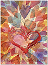 Watercolor Hearts Valentine's Card A8059U-X