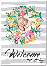 Floral Baby Welcome Card D8056D-X