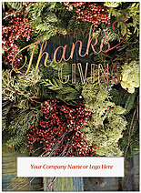 Floral Thanks Die Cut Thanksgiving Card H8106U-AAA