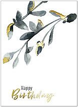 Gilded Branch Birthday Card A9010G-W