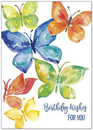 Colorful Butterflies Birthday Card A9024D-X