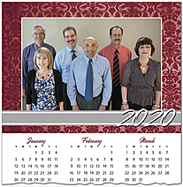 Red Damask Photo Calendar Card D9139U-4A