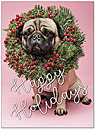 Holiday Pug Greeting Card D9194U-A