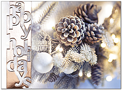 Pinecone Wreath Holiday Card H9157U-AA