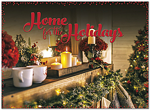 Holiday Mantel Greeting Card H9165U-A