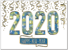 Sparkling 2020 New Year Card H9181U-AA