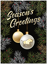 Bull Ornament Holiday Card H9189U-AA