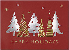 Enchanted Foil Tress Holiday Card H1520G-4A