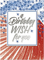 Patriotic Wish Birthday Card A1614U-Y