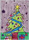 Green Christmas Tree Card D2160U 10 pack