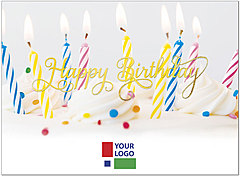 Cake and Candles Logo Birthday Card D8032U-4W